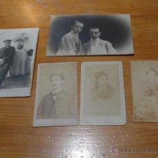Fotografía antigua: LOTE DE 5 FOTOGRAFIA MUY ANTIGUAS, S.XIX Y PRINCIPIOS S.XX, VARIEDAD.. Lote 48697549