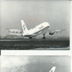 Fotografia antiga: 2 FOTOGRAFIAS DE UN AIRBUS A 300 B4 DESPEGANDO Y EN VUELO. Lote 50723499