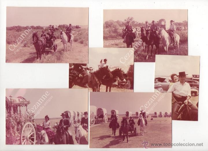 Fotografía antigua: 12 IMÁGENES DEL CAMINO DEL ROCÍO. HERMANDAD DE TRIANA - SEVILLA. C. 1964 - Foto 2 - 51063091