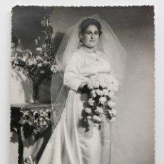 Fotografía antigua: NOVIA POSANDO EN ESTUDIO - 12 X 17 CM. Lote 53192304