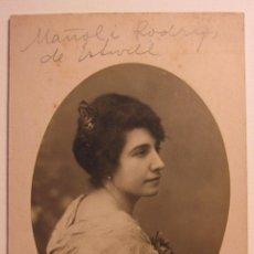 Fotografía antigua: FOTOGRAFIA RETRATO MANOLI RODRIGO DE ESTIVILL,1916. J.DOMINGUEZ. IGLESIA, 22. IRUN. 14 X 9 CM. Lote 54027551