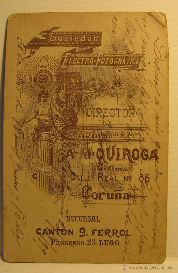 Fotografía antigua: FOTOGRAFIA RETRATO HOMBRE (1899). FOT. A.M.QUIROGA. REAL, 86, LA CORUÑA. 16.50 X 11 CM - Foto 3 - 54152716