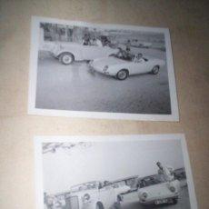Fotografía antigua: 2 FOTOS COCHES AUTOMOVIL DEPORTIVO DESCAPOTABLE SEAT 850 SPIDER MERCEDES TORREVIEJA ALICANTE 1966. Lote 55693053