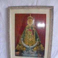 Fotografía antigua: ANTIGUA FOTOGRAFIA ENMARCADA DE LA VIRGEN DE LA FUENSANTA CON MANTO DE TERCIOPELO VERDE A COLOR 1963. Lote 55714058