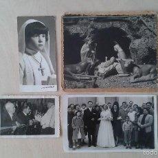 Fotografía antigua: LOTE 4 FOTOGRAFÍAS ANTIGUAS TEMÁTICA RELIGIÓN CATÓLICA - BODA, COMUNIÓN Y NACIMIENTO DEL NIÑO JESUS. Lote 57435903
