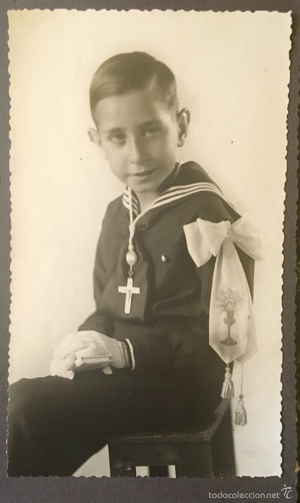 ANTIGUA FOTO NIÑO PRIMERA COMUNION 1939 MARINERO CRUZ (Fotografía - Artística)