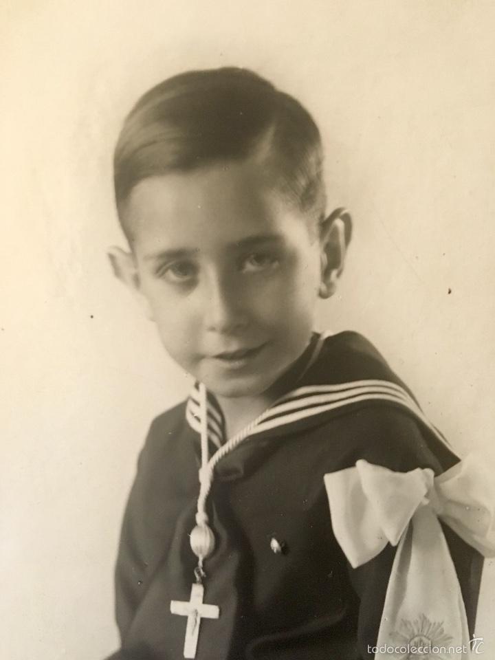 Fotografía antigua: antigua foto niño primera comunion 1939 marinero cruz - Foto 10 - 58337315