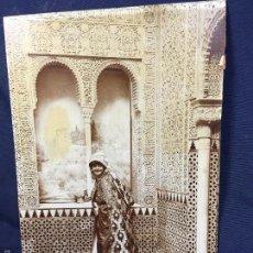 Fotografía antigua: FOTO SEÑORA DISFRAZADA KEFTA ARABE ALHAMBRA GRANADA NAZARÍ QUIZAS FOT LINARES 23X16CMS. Lote 58531580