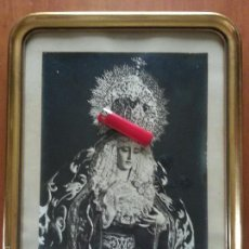 Fotografía antigua: SEMANA SANTA CADIZ FOTOGRAFIA ORIGINAL VIRGEN DE LA PALMA ARCHICOFRADIA 1972 DEDICADA MARCO ORO. Lote 58790506