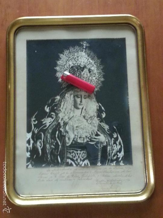 Fotografía antigua: semana santa cadiz fotografia original virgen de la palma archicofradia 1972 dedicada marco oro - Foto 5 - 58790506