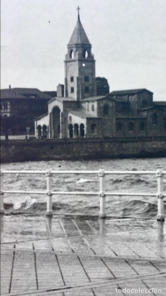 Fotografía antigua: gijon iglesia se san lorenzo foto 1920 paseo maritimo12x17,5 - Foto 7 - 62185484