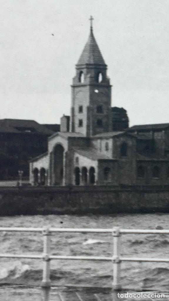 Fotografía antigua: gijon iglesia se san lorenzo foto 1920 paseo maritimo12x17,5 - Foto 8 - 62185484