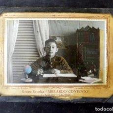 Fotografía antigua: ANTIGUA FOTOGRAFIA COLOREADA. GRUPO ESCOLAR. CURSO 1960/61. TOMELLOSO. UTRILLA. Lote 76330635
