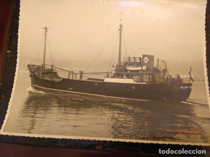 FOTOGRAFIA ANTIGUA BARCO PESQUERO MEDINA XA.. 1949. ASTILLERO ATN-456. 23X17 CM. (Fotografía - Artística)