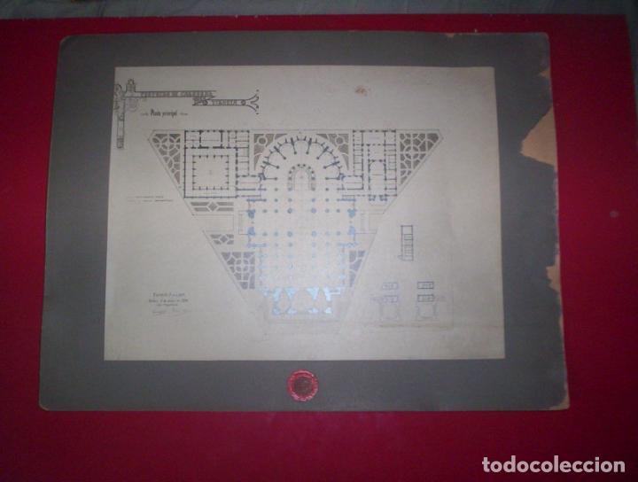 Fotografía antigua: 2 fotos A Salinas excepcional proyecto arquitectura gotico catedral nueva vitoria alava 1906 38x28cm - Foto 2 - 82291944