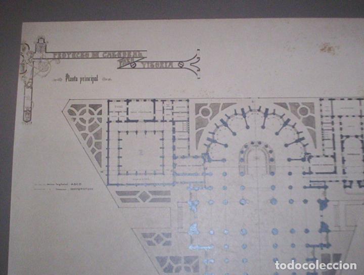 Fotografía antigua: 2 fotos A Salinas excepcional proyecto arquitectura gotico catedral nueva vitoria alava 1906 38x28cm - Foto 3 - 82291944