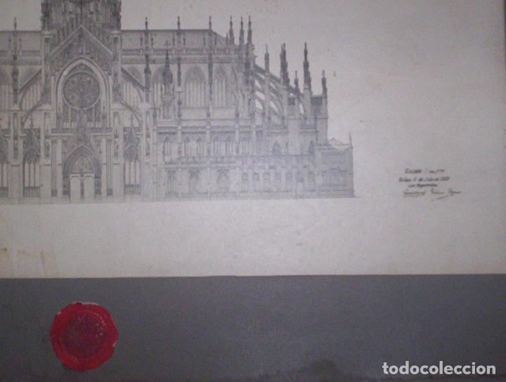 Fotografía antigua: 2 fotos A Salinas excepcional proyecto arquitectura gotico catedral nueva vitoria alava 1906 38x28cm - Foto 4 - 82291944