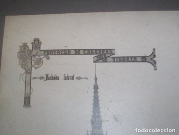 Fotografía antigua: 2 fotos A Salinas excepcional proyecto arquitectura gotico catedral nueva vitoria alava 1906 38x28cm - Foto 6 - 82291944