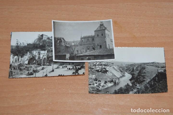 LOTE DE 3 FOTOS ANTIGUAS ORIGINALES TOLEDO - ALCAZAR - DIFERENTES EPOCAS - 1939 A 1960 - HAZ OFERTA (Fotografía - Artística)