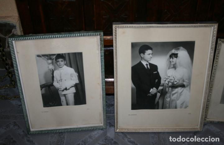 LOTE DE 6 FOTOGRAFIAS ANTIGUAS EN 5 MARCOS ANTIGUOS (Fotografía - Artística)