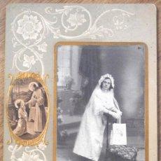 Fotografía antigua: RECUERDO DE COMUNIÓN - FOTÓGRAFO J. SIMARRO DE JÁTIVA (VALENCIA) - MUY ANTIGUA . Lote 105110575