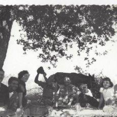 Fotografía antigua: FOTO FAMILIA Y BURRO DESCANSANDO DE LOS TRABAJOS DEL CAMPO. AÑOS 40/50. Lote 105798959
