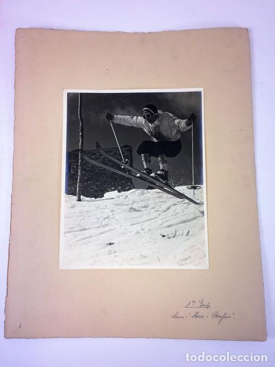 Fotografía antigua: SKARE Y PARAFINA. FOTOGRAFÍAS DE ESQUIADORES. ESPAÑA. CIRCA 1940 - Foto 2 - 107210967