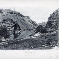 Fotografía antigua: LÁMINA FOTOGRÁFICA DE HAUSER Y MENET - TOLEDO ORILLA DEL TAJO. Lote 110147315
