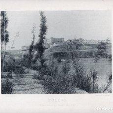 Fotografía antigua: LÁMINA FOTOGRÁFICA DE HAUSER Y MENET - TOLEDO. VISTA DESDE EL CAMPO DEL REY. Lote 110147487