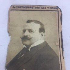 Fotografía antigua: FOTO ANTIGUA RETRATO PROFESOR INTERNAC PUBLICO FACULTAD DERECHO MADRID AÑO 1907 RETORTILLO TORNOS. Lote 120581063