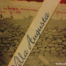 Fotografía antigua: MADRUGADA MUNICIONAN MULOS PROYECTIL ENEMIGO BATALLA DEL EBRO 1939 GUERRA CIVIL LEGION FIRMADA. Lote 120946595