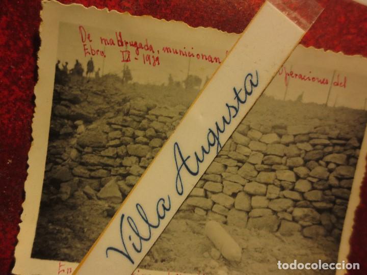 Fotografía antigua: MADRUGADA MUNICIONAN MULOS PROYECTIL ENEMIGO BATALLA DEL EBRO 1939 GUERRA CIVIL LEGION FIRMADA - Foto 2 - 120946595