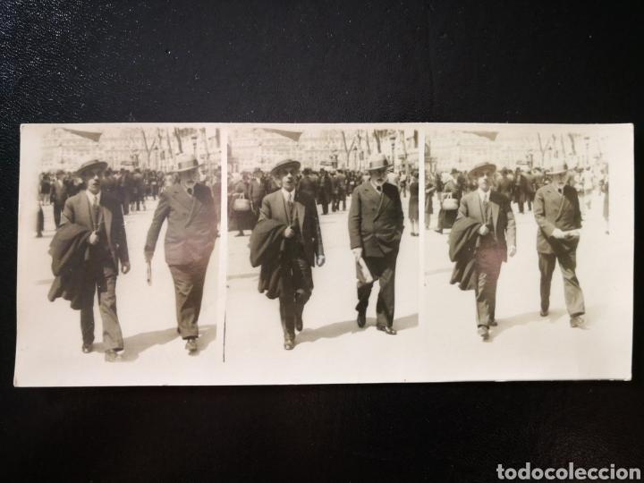 FOTOGRAFÍA EN MOVIMIENTO DOS HOMBRES CAMINANDO SECUENCIA 3 FOTOS 1932 MADRID 17X7,2 CM (Fotografía - Artística)
