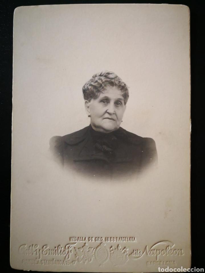 Fotografía antigua: Retrato anciana vestido negro peinado foto por ANT y Emilio Napoleón 11X16,5 cm - Foto 2 - 123083838