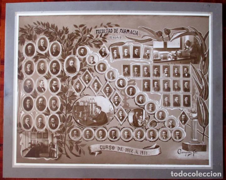 GRAN ORLA DE LA FACULTAD DE FARMACIA DE MADRID. CURSO 1912-13. MIDE 66 X 53 CM.INCLUYENDO PASPARTÚ. (Fotografía - Artística)
