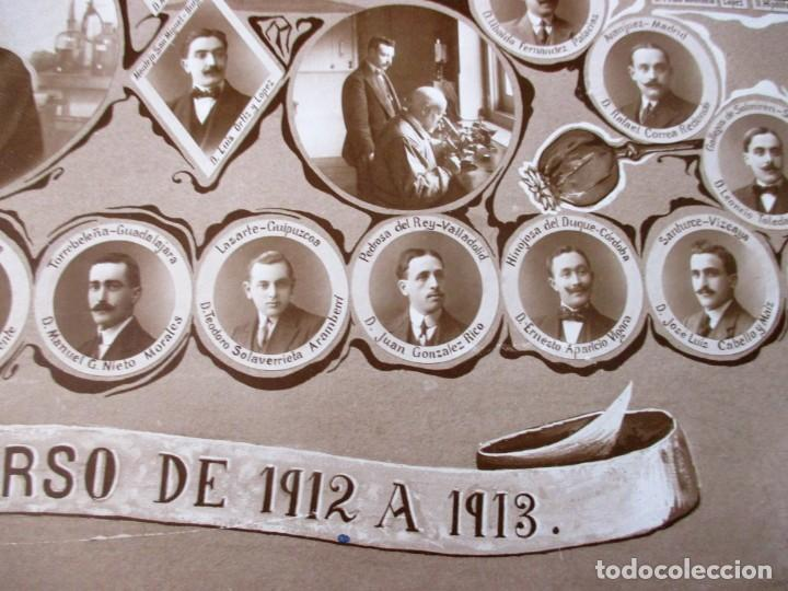 Fotografía antigua: Gran orla de la Facultad de Farmacia de Madrid. Curso 1912-13. Mide 66 x 53 cm.incluyendo paspartú. - Foto 5 - 130612994