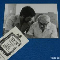 Fotografía antigua: FOTOGRAFIA ORIGINAL DE JOAN MIRO Y FRANCESC MARTI I POL ?? ESTUDI DE PALMA DE MALLORCA 26/6/1979. Lote 131937154