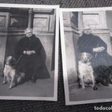 Fotografía antigua: DOS FOTOS ANTIGUAS ANCIANA CON PERRO. Lote 133898466