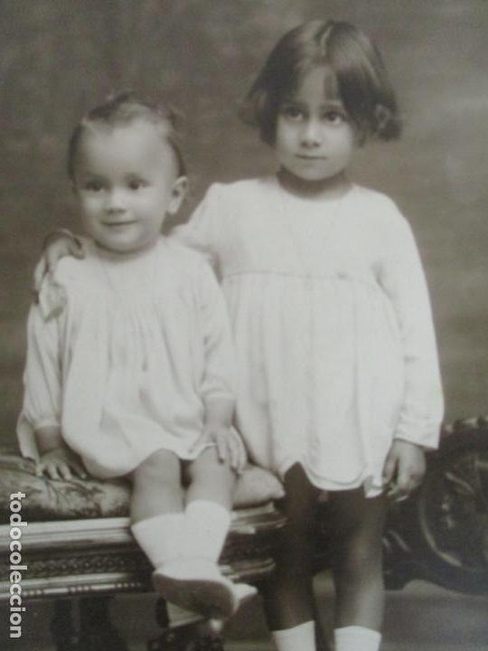 Fotografía antigua: Fotografía de Estudio American Study - Tarjeta Postal - Pareja Niños - Fotógrafo Vicente Vallés - Foto 2 - 134815506