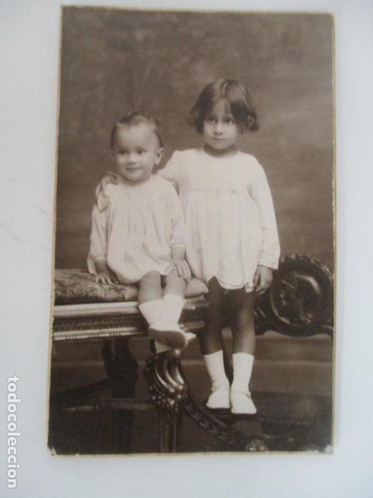 Fotografía antigua: Fotografía de Estudio American Study - Tarjeta Postal - Pareja Niños - Fotógrafo Vicente Vallés - Foto 5 - 134815506