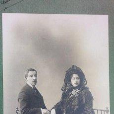 Fotografía antigua: RETRATO DE PAREJA AÑO 1904 DEL FOTÓGRAFO MANUEL COMPAÑY, COLECCIONISMO, ARTE DECORACIÓN. Lote 135763294
