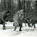 Fotografía antigua: DISFRUTANDO DE LA NIEVE EN MADRID. 18 ENERO DE 1945. PASADA POR LA CENSURA. MEDIDAS 12X9 CM.. Lote 141942062