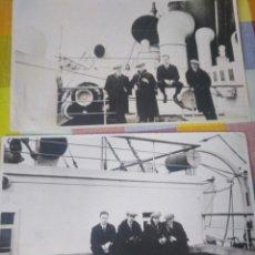 Fotografía antigua: LOTE 2 FOTOS INDIANOS REGRESANDO DE MÉXICO BARCO. AÑOS 20. DIÁSPORA VASCA. Lote 145577066
