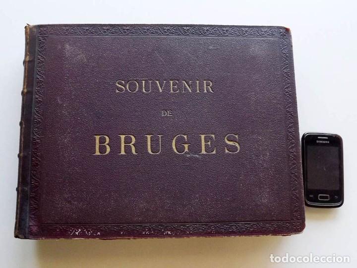 BRUGES, ESPECTACULAR ALBUM DE GRANDES DIMENSIONES CON 19 FOTOGRAFÍAS PINTADAS, DATADO HACIA 1880 (Fotografía - Artística)