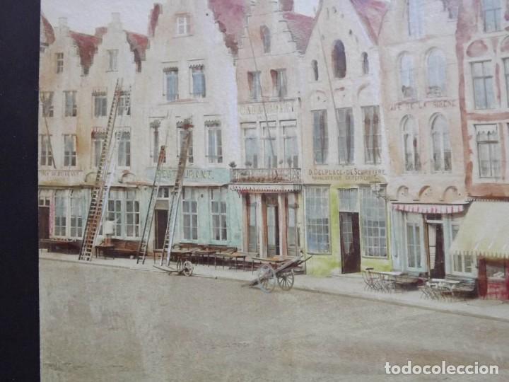Fotografía antigua: Bruges, espectacular Album de grandes dimensiones con 19 fotografías pintadas, datado hacia 1880 - Foto 8 - 146436826