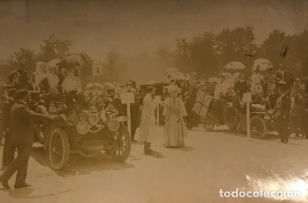 FIESTA AUTOMOVILISTA EN HONOR DE LA PRINCESA VICTORIA. ALFONSO XIII COBURGO-GOTA 17,4X11,5 CM (Fotografía - Artística)