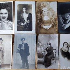 Fotografía antigua: LOTE DE 10 FOTOGRAFÍAS POSTALES ANTIGUAS DE ESTUDIO RETRATOS SEÑORA MUJERES DE EPOCA - VER FOTOS. Lote 151329946