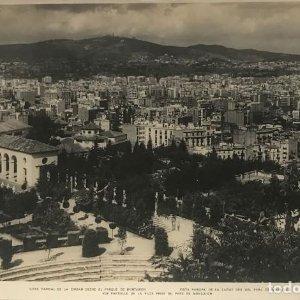 Barcelona. Vista parcial de la ciudad desde el parque de Montjuich 27,9x18,,2 cm