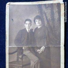 Fotografía antigua: FOTOGRAFÍA ESTUDIO BELTRAMO? PARÍS - JOVEN PAREJA DE NOVIOS - DEDICADA. Lote 152060822