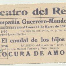 Fotografía antigua: POSTAL ESPAÑOLA. COMO PUBLICIDAD DEL TEATRO DEL REY DE LA COMPAÑÍA GUERRERO-MENDOZA EM 1923. Lote 154003828